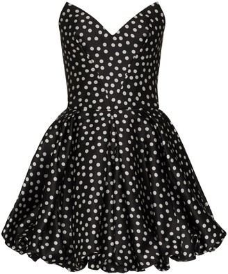 Rasario Polka-Dot Print Silk Mini Dress