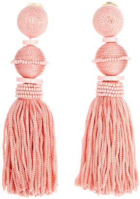 Oscar de la Renta Threaded Ball & Tassel Drop Earrings Pink