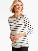 Talbots Three-Quarter-Sleeve Tee-Beaded Stripes