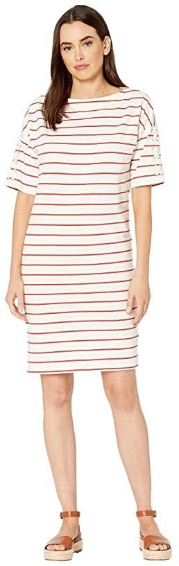 Lauren Ralph Lauren Striped Jersey Boat Neck Dress (Mascarpone Cream/Canyon Red) Women's Clothing