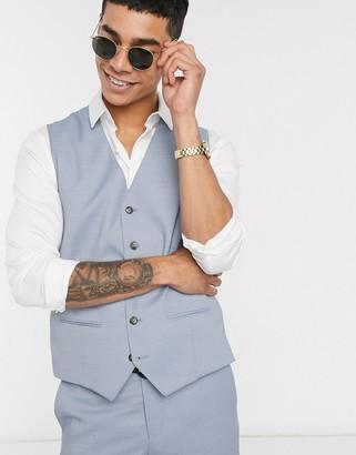 Jack and Jones super slim fit wool blend suit vest in light blue
