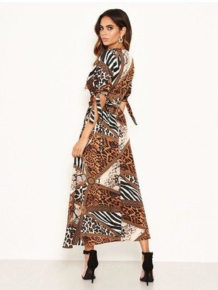 AX Paris Animal Print Wrap Midi Dress - Brown