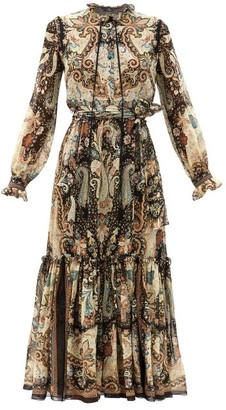 Etro Catria Paisley-print Tiered Silk-chiffon Dress - Grey Multi