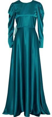Roksanda Tala Bow-embellished Two-tone Silk-satin Gown