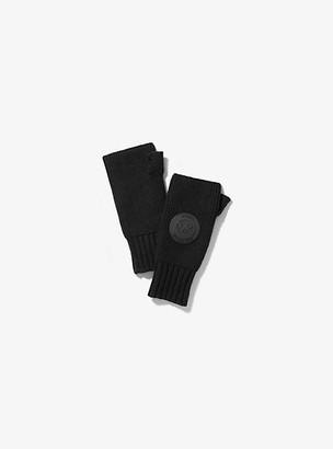 Michael Kors Logo Patch Ribbed Nylon-Blend Fingerless Gloves