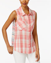 Style&Co. Style & Co Mixed-Print Shirt, Only at Macy's