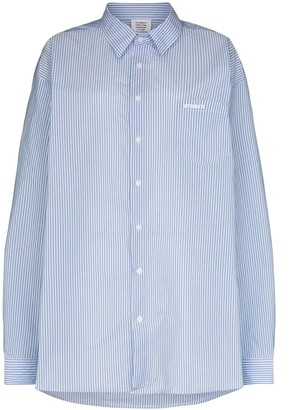 Vetements Blue And White Striped Shirt
