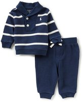 Ralph Lauren Baby Boys 3-24 Months Striped Shawl-Collar Sweater & Solid Pant Set