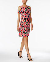 Nine West Printed Cold-Shoulder Dress