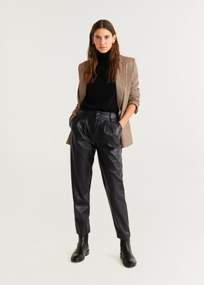 MANGO Leather effect high waist pant brown - 2 - Women