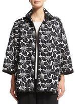 eskandar Floral-Print Open-Front Jacket, Black