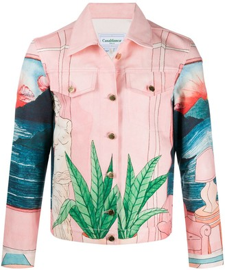 Casablanca Landscape Print Denim Jacket