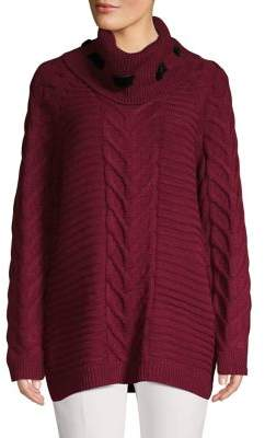Karl Lagerfeld Paris Raglan-Sleeve Cable-Knit Sweater