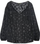 Saint Laurent Metallic Fil Coupé Silk-blend Blouse - Black