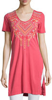 Johnny Was Sonya Side-Slit Embroidered Cotton Tunic