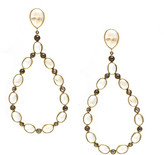 Tresor Collection - Rainbow Moonstone and Rose cut Black Diamond Earrings in 18k YG