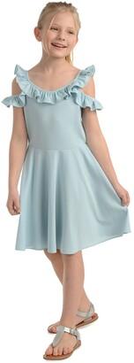 Badgley Mischka Ruffle Cold Shoulder Skater Dress