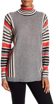 Cullen Striped Turtleneck Cashmere Swing Top
