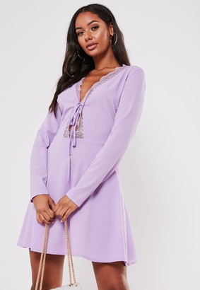 Missguided Lilac Long Sleeve Lace Detail Skater Dress