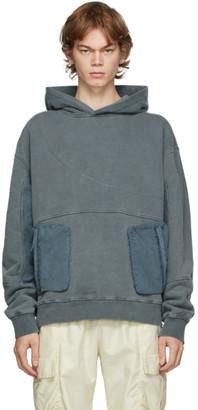C2H4 Grey Cold-Dye Panelled Hoodie