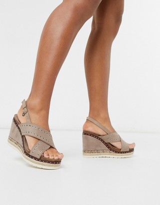 Xti cross strap heeled espadrille wedges in taupe