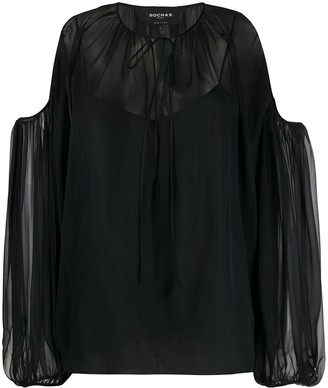 Rochas Cold-Shoulder Sheer Blouse