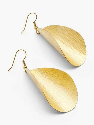 People Tree Curved Leaf Drop Earrings, Brass