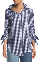 Monse Gingham Double-Collar Cotton Blouse
