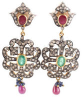 DESIGNER Gold Tone Metal Diamond Pink Tourmaline Emerald Chandelier Earrings