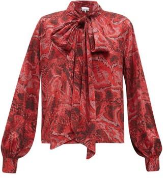 Ganni Snake-print Silk-blend Satin Blouse - Womens - Red Multi
