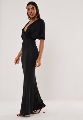 Missguided Black Bandage Kimono Sleeve Maxi Dress