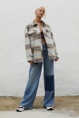 Urban Outfitters Checked Shirt Jacket - Grey XS at