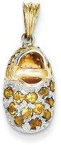 FreshTrends Citrine (November) Baby Shoe Rhodium & 14K Yellow Gold Charm