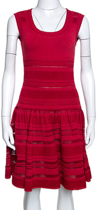 Alaia Dark Red Textured Pointelle Knit Fit and Flare Dress M