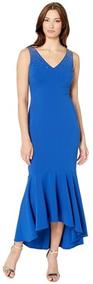 Calvin Klein High-Low Gown with Embellished Shoulder