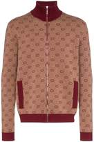 Gucci high-neck GG print knitted bomber jacket