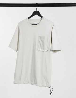 Topman t-shirt with toggle cords in stone