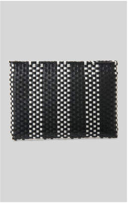 Whistles Striped Plastic Woven Clutch