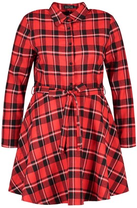 boohoo Plus Check Tie Waist Shirt Skater Dress