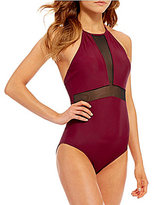 GB Solid Hi Neck One Piece with Mesh