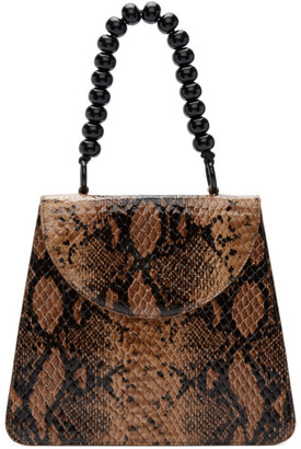 Maryam Nassir Zadeh Beige Python Top Handle Bag