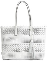 Milly Laser Perforated Leather Tote - White
