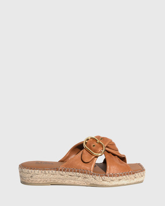 Wittner - Women's Brown Sandals - Uballe Washed Leather Espadrille Slides - Size One Size, 39 at The Iconic