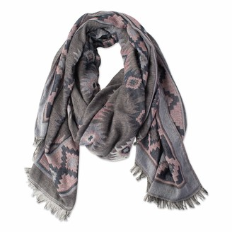 Tickled Pink Accessorie's Cozy Aztec Tapestry Pattern Long Scarf with Fringe Edges for All Seasons 71x35