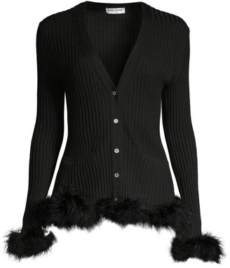 Opening Ceremony Wool Rib-Knit Faux Fur-Trim Cardigan