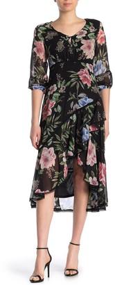 Taylor Floral Print Chiffon Faux Wrap Dress