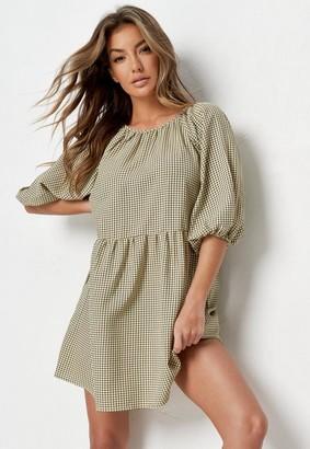 Missguided Green Gingham Balloon Sleeve Mini Dress