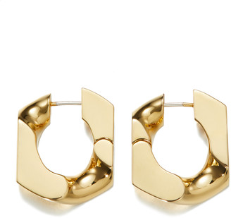 Numbering 16K Gold-Plated Chain Unit Earrings