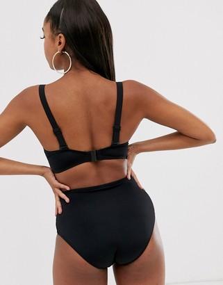 Pour Moi? Pour Moi Fuller Bust Castaway underwired bikini top in black crochet