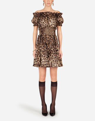 Dolce & Gabbana Short Leopard-Print Poplin Dress